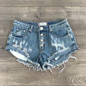 boutique Pants - 💔LAST 3 HIDEOUT Distressed Button Up Denim Shorts