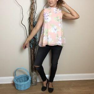 Peach Love California Tops - Floral Swing Top