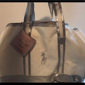 Ralph Lauren Handbags - NWT Ralph Lauren canvas silver gym duffle bag