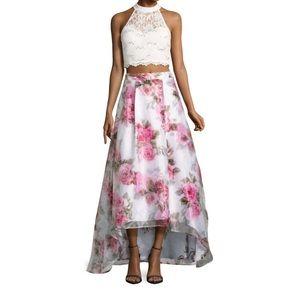 Floral two piece prom dress