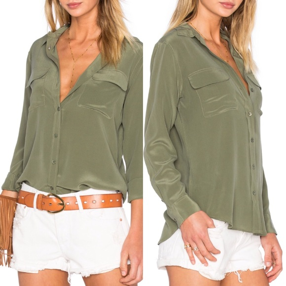 6a49c89ffb1b66 Equipment Tops | Nwt Olive Green Silk Top | Poshmark
