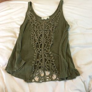 Nordstrom Tops - Green Tank with crocheted details