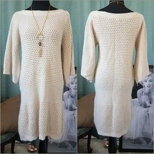 Vintage Bell-Sleeve Sweater Dress  XL