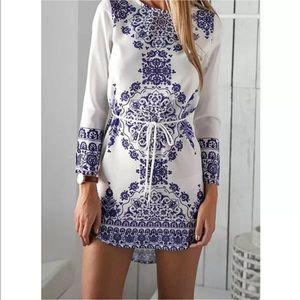 Ginny Blue and White Mandala High Low Mini Dress