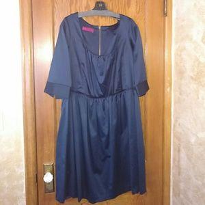 Melissa Masse Dresses & Skirts - Navy satin dress w/raw edged trim around waist.