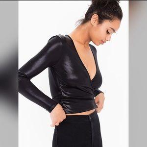 American Apparel Tops - American apparel black metallic wrap top