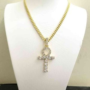 Other - 14k Gold Ice Out Ankh Charm With Cuban Chain