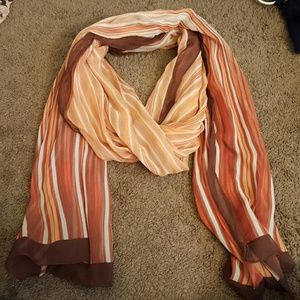 Coldwater Creek Accessories - Coldwater Creek Orange & Brown Stripped Scarf