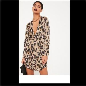 Missguided + Dresses & Skirts - Nude Leopard Front Shift Dress
