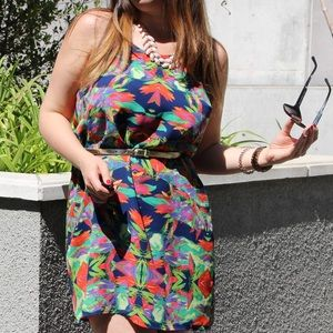 Colorful Abstract Printed Spaghetti Strap Dress