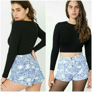 American Apparel Pants - American Apparel floral print high waist shorts