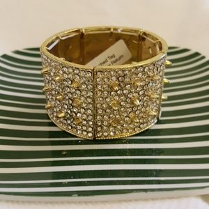 Gold Spiked Cuff with Rhinestones