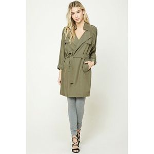 Forever 21 - Notched Collar Wrap Jacket in Olive