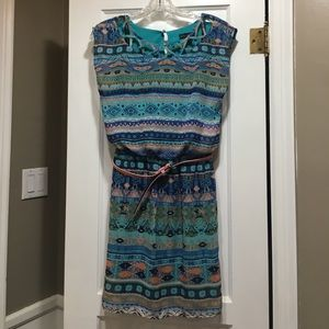 NWT Teal & Peach Belted Dress Tribal Print Small