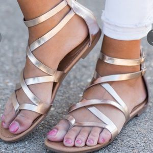 Shoes - Gold Gladiator Flat Sandals