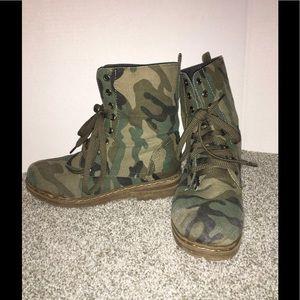 Camo print combat boots