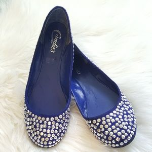 Candie's Shoes - CANDIES blue & silver stud flats