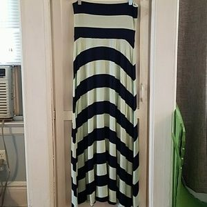 Mint/Navy Striped Jersey Maxi Skirt