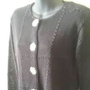 Thyme  Sweaters - Thyme black linen cardigan with embroidery-size M