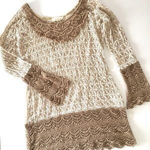 A'reve lace tunic with crochet trim