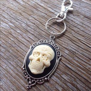 Sugar skull cameo keychain // purse charm