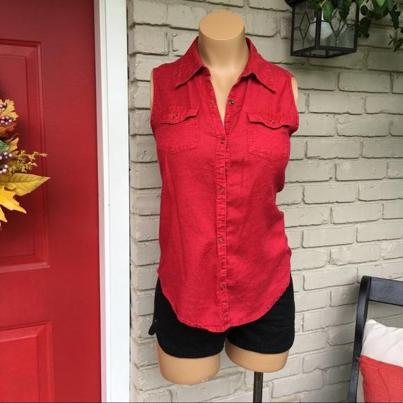 a1cbc4318845e Arizona Jean Company Tops - Cranberry acid wash sleeveless snap button up