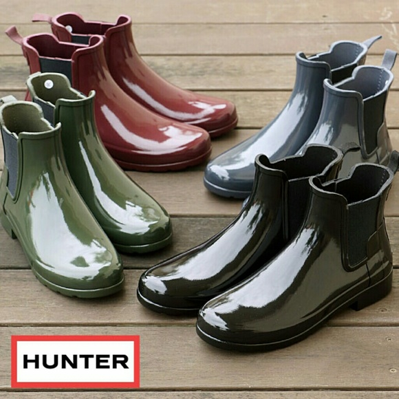 51 off hunter shoes hunter chelsea refined rain boots booties ankle from julie 39 s closet on. Black Bedroom Furniture Sets. Home Design Ideas
