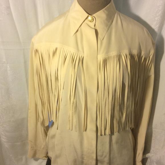 c24e6b4e Macherez by Man Sing Tops - SALE! Silk Vintage Western Fringe Button-Up  Shirt