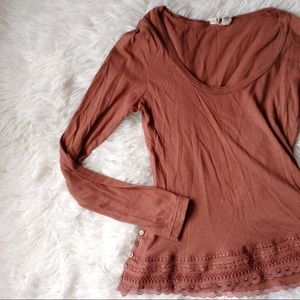 Anthropologie Tops - ANTHROPOLOGIE mauve long sleeve tiered shirt