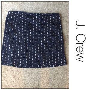 J. Crew navy mini anchors skirt size 4