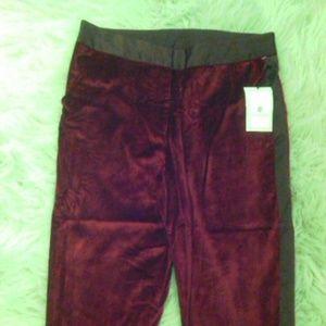 NWT ruby red velvet satin tuxedo ankle pants NEW