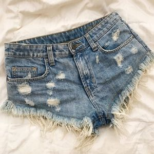 LF Pants - lf carmar destroyed frayed denim shorts