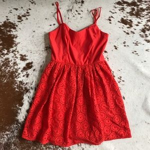 Gianni Bini Dresses & Skirts - Gianni Bini red eyelet tank top dress M