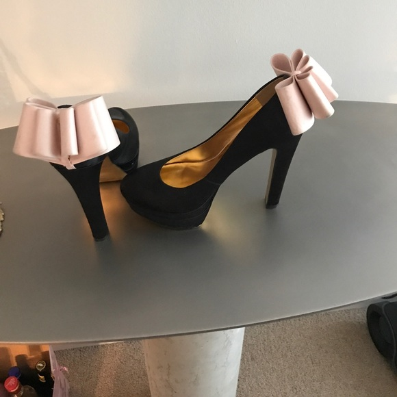 Ted Baker Black Satin Pumps With Bow