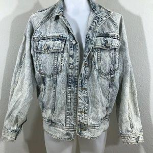 Mens Vintage 1990s Acids Wash Distressed Jacket M