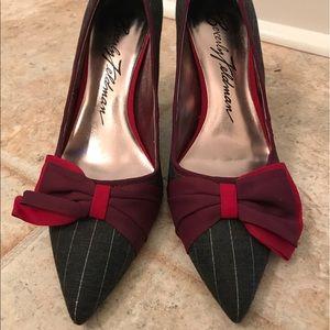 Beverly Feldman Shoes - Beverly Feldman Pinstriped Pump with Chiffon Bow