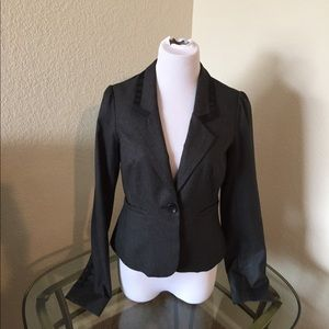 Loft size 2 gray blazer with lots of detail.