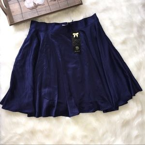 Moon Collection Dresses & Skirts - Moon Collection Navy Blue Satin Skirt