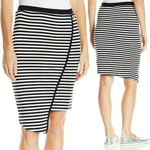Obey Dresses & Skirts - OBEY Asymmetrical B&W Striped Pencil Skirt NWT