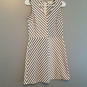 Ann Taylor LOFT 00P Blue White Striped Dress