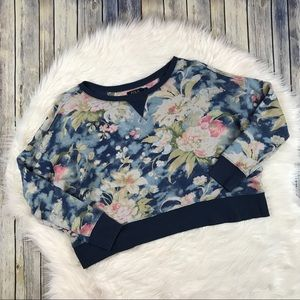 Polo Ralph Lauren Navy Floral Cropped Sweatshirt