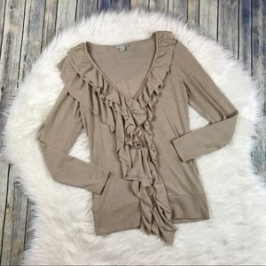 Boston Proper Tan Romantic Ruffle Cardigan Sweater