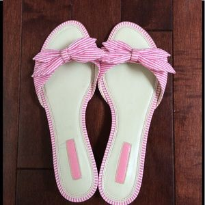 Unisa Shoes - Pink and White Striped Bow Sandals, Size 8.5