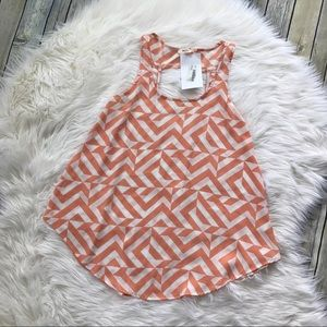 Everly Tops - [Everly] NWT Coral and White Chevron Tank Top