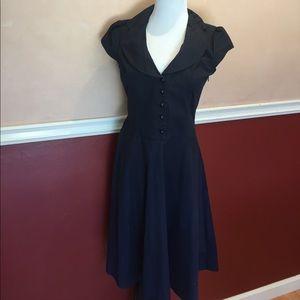 Forever 21 Dresses & Skirts - Forever 21 40's Inspired Pinup Navy Blue Dress M