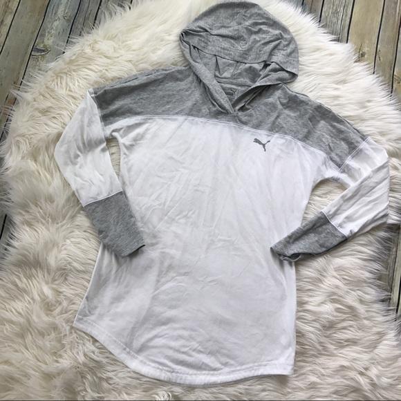 Puma Tops - [Puma] White and Gray Hooded long Sleeve Tee