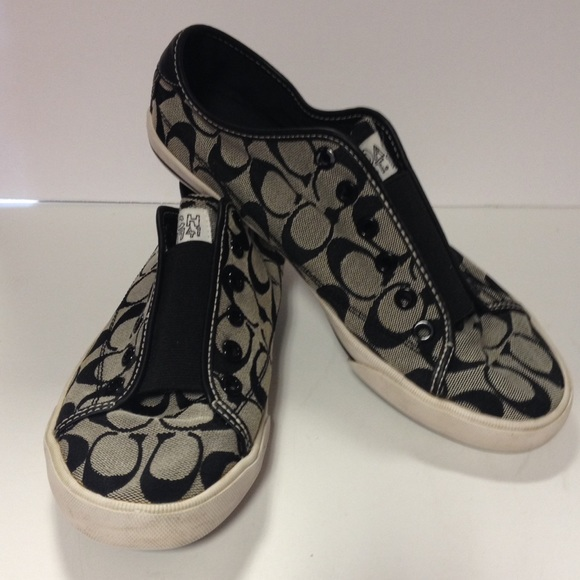 60 coach shoes coach slip on tennis shoes black and