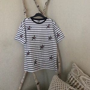 ASOS Tops - Striped tee with embroidery