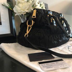 21c9d1fe1028 Prada Bags - PRADA RUCHED NYLON TESSUTO GAUFRE BAG NERO BN1336
