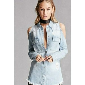 Pixie + Diamond Cold Shoulder Denim Top
